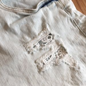 Dollhouse Shorts - Dollhouse distressed denim shorts with lace detail